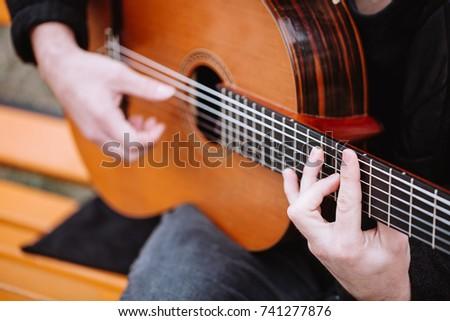 Acoustic Guitar Chords Closeup Image Stock Photo (Royalty Free ...
