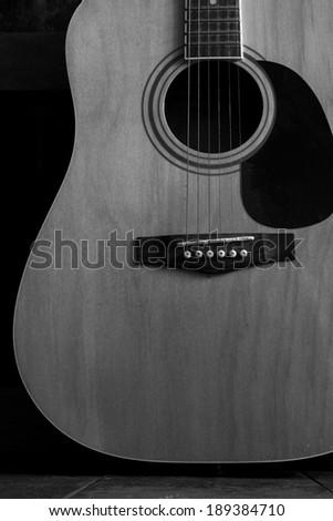 Acoustic Guitar B&W - stock photo