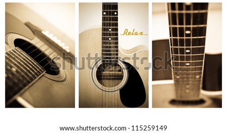 Acoustic guitar close up , shallow depth of field  vintage style photo .