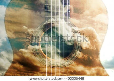 Acoustic guitar composition.Double exposure.Music concept. Acoustic guitar design