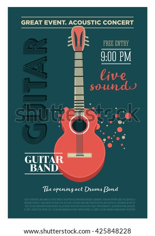 Acoustic guitar concert flyer template. Retro typographical poster. Flat style design - stock photo