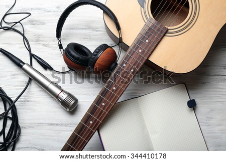 classic electric guitar music headphones on stock photo 236639023 shutterstock. Black Bedroom Furniture Sets. Home Design Ideas