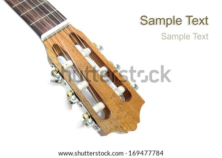 acoustic guitar headstock closeup isolated