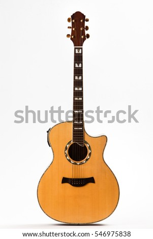 Acoustic guitar in front of white background