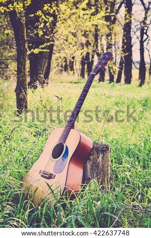 Acoustic guitar in the forest on a tree stump (vintage) - stock photo