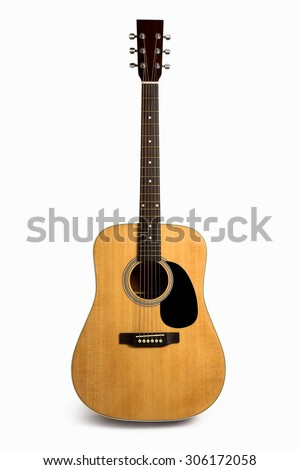Acoustic guitar is isolated on the white background.