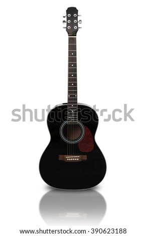 Acoustic guitar is isolated on the white background. With clipping path - stock photo
