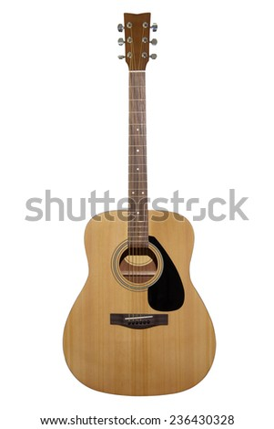 acoustic guitar isolated on a white background - stock photo
