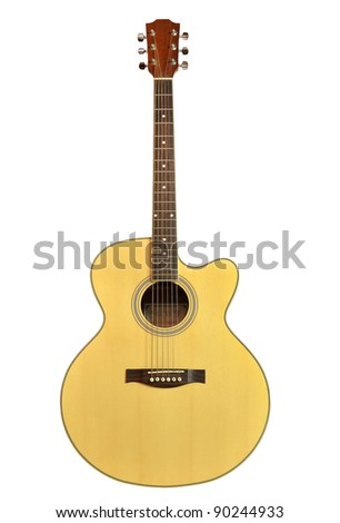 acoustic guitar isolated on the white background - stock photo