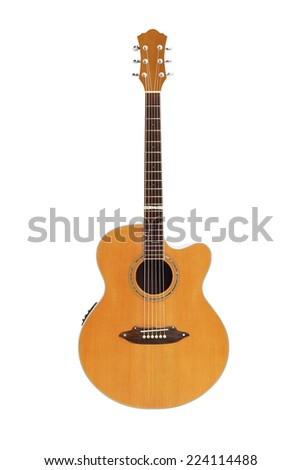 Acoustic Guitar Isolated On White Background