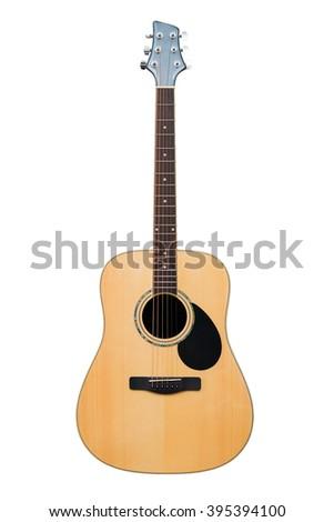 Acoustic guitar isolated on white background - stock photo