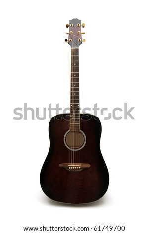 acoustic guitar isolated on white background - stock photo