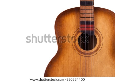 acoustic guitar isolated on white background closeup - stock photo