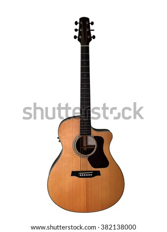 Acoustic guitar isolated on white background with clipping path - stock photo