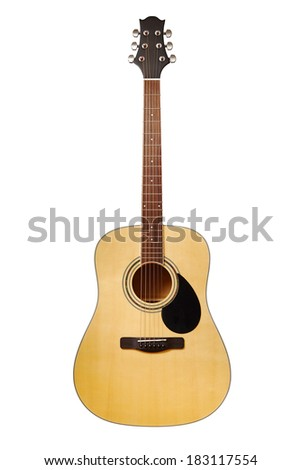 Acoustic guitar isolated on white with clipping paths - stock photo