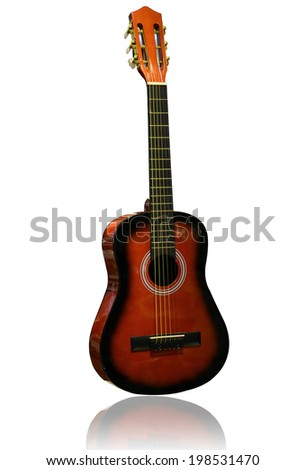 acoustic guitar isolated on white, with shadow