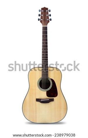 Acoustic guitar, Isolated over white - stock photo