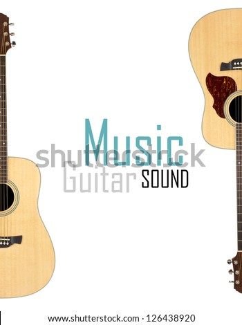 Acoustic guitar isolated over white background - stock photo