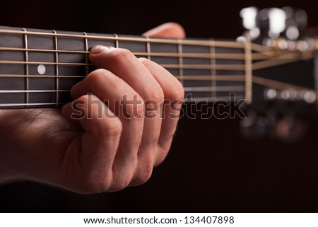 acoustic guitar neck - stock photo