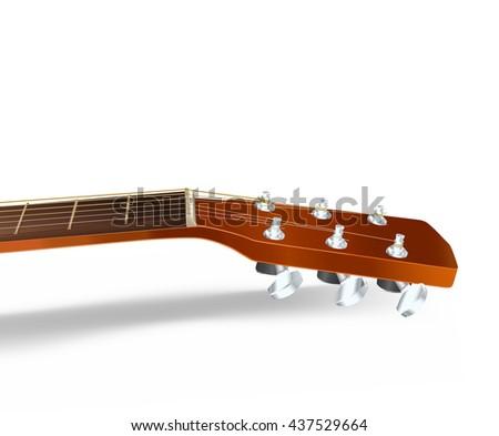 acoustic guitar neck on white. raster illustration - stock photo