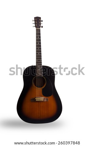 Acoustic guitar on a white background. - stock photo