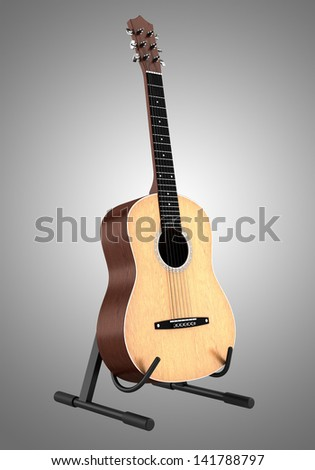 acoustic guitar on stand isolated on gray background