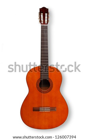 Acoustic guitar on white with shadow - stock photo