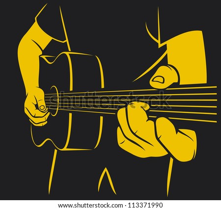 acoustic guitar playing (man plays a guitar, playing acoustic guitar, musical poster design, music design) - stock photo