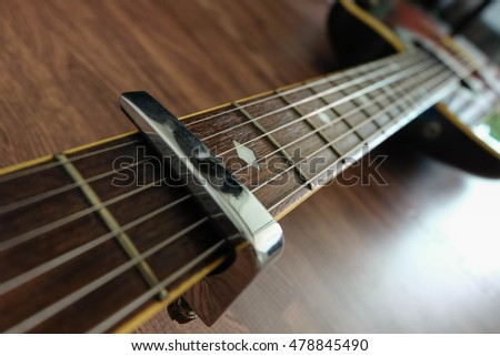 Acoustic guitar resting against a wooden background