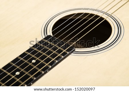Acoustic guitar rosette and sound hole.