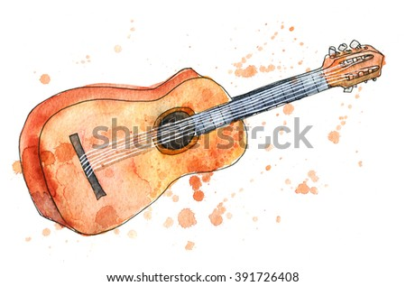 Acoustic guitar watercolor sketch isolated over white background. Drawing of a musical instrument with paint grunge splatter. - stock photo