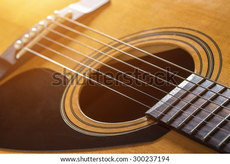 Acoustic guitar with a very shallow depth.