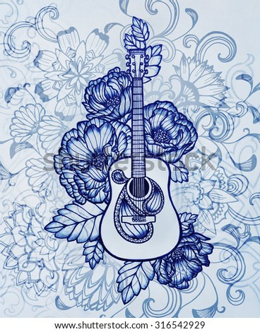 Acoustic guitar pretty flower design blue stock illustration acoustic guitar with pretty flower design in blue vintage style music background mightylinksfo