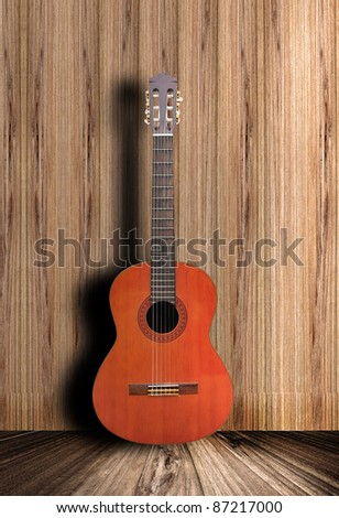 Acoustic guitar with wooden background