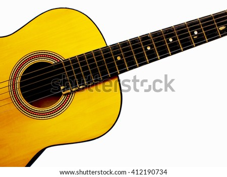 Acoustic Guitar. yellow Guitar isolated on White Background. - stock photo