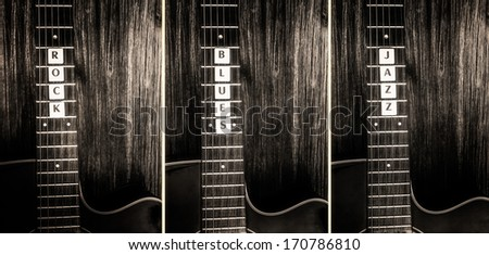 Acoustic guitars in vintage style and signs rock, blues, jazz - stock photo