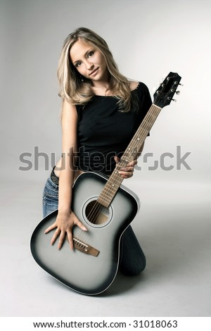 acoustic music rock guitar girl pop glamour