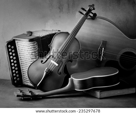 Acoustic musical instruments guitar ukulele violin and accordion still life style black and white version - stock photo