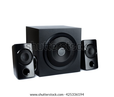 Acoustic speakers in plane wooden body with subwoofer on a white background