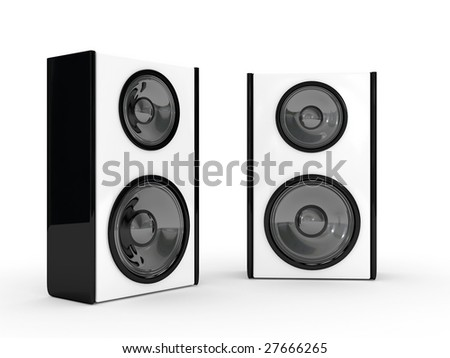 Acoustic system located on a white background