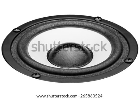Acoustic the loudspeaker on a white background, the white loudspeaker with a black subweight and a black dome. The isolated image, nobody. - stock photo