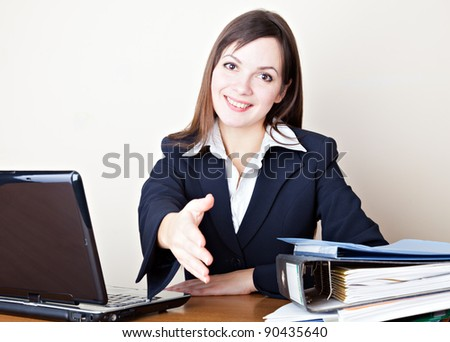Acquaintance with the young business woman - stock photo