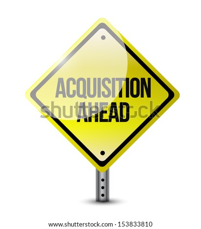 acquisition ahead road sign illustration design over a white background