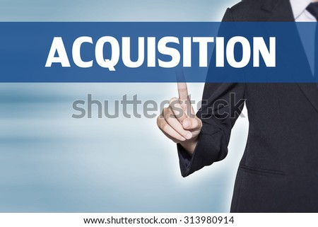 ACQUISITION Business woman pointing at word for business background concept - stock photo