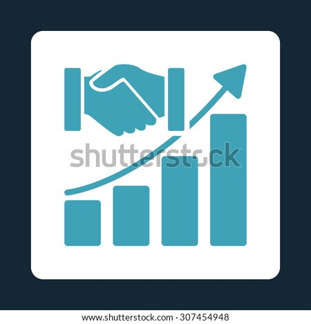 Acquisition Growth raster icon. This flat rounded square button uses blue and white colors and isolated on a dark blue background. - stock photo