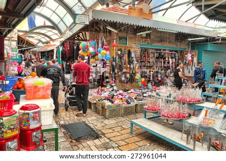 ACRE,ISRAEL - APRIL 05, 2015: East Arab market of old city of Acre (Akko) offers variety of the middle east products and traditional souvenirs. East Arab market of Acre is very popular with tourists   - stock photo