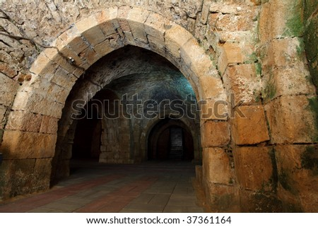 Acre knight templar castle, Israel - stock photo