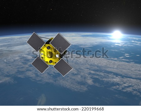 Acrimsat satellite in space upon earth and rising sun, elements of this image furnished by NASA - 3D render - stock photo