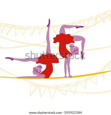 acrobat ballerinas exercise on a rope