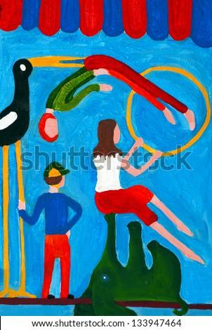 acrobat, circus,painting - stock photo
